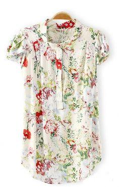 Short Sleeves Sweet Floral Blouse