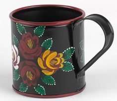 Narrowboat Hand Painted Mugs. Canal art roses in traditional colours. Perfect for a cup of tea on a cold morning Boat Painting, One Stroke Painting, Diy Painting, Canal Boat Art, Vertical Herb Gardens, Traditional Roses, Hand Painted Mugs, Watercolor On Wood, Narrowboat