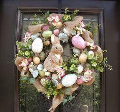 Easter Egg Wreath, Easter Bunny Wreath, Front Door Wreath Burlap, Easter Decor, Wreaths for the Door Sweet bunny & egg Easter wreath. Diy Osterschmuck, Diy Crafts, Diy Easter Decorations, Table Decorations, Outdoor Easter Decorations, Deco Floral, Easter Holidays, Easter Wreaths, Spring Wreaths
