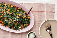 Kale Salad with Butternut Squash, Pomegranate, and Pumpkin Seeds