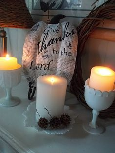 Milk Glass Goblets As Candle Holders