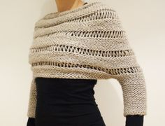 Knitting Pattern  London Mist Cropped Sweater/ por CamexiaDesigns