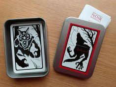 Noir Werewolf - ( 1st Edition ) Hand signed! Classic Black & White - 33 Illustrated Cards in a noble Metal Box with English and German Rules  #WerewolfCards #Werewolfgame #Werewolf #Cardgame #Partygame #Handmade #Partygame #Fullmoon #Halloween