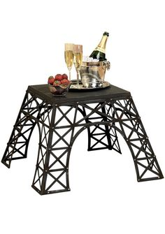 Metal end table with latticed legs inspired by the base of the Eiffel Tower. Product: End tableConstruction Material: MetalColor: BlackFeatures: Eiffel Tower-inspired motifDimensions: H x W x D Paris Room Decor, Paris Rooms, Paris Bedroom, Paris Themed Bedrooms, Plywood Furniture, Design Furniture, Furniture Decor, Chair Design, Bedroom Furniture