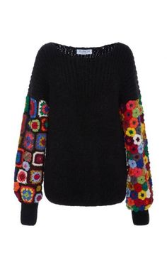 Tuinch Exclusive Crocheted-Panel Cashmere-Blend Sweater - Crochet and Knitting Patterns Crochet Bodycon Dresses, Black Crochet Dress, Crochet Blouse, Crochet Granny, Knit Crochet, Knitting Patterns, Crochet Patterns, Mode Crochet, Mode Boho