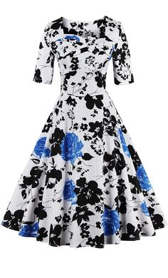 Womens vintage 1960s style fit and flare Easter floral print dress with half sleeves available in S-5XL