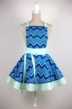 LUXURY CHIC&Lovely apron CHEVRON green by CHICLovely on Etsy