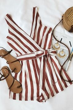 Pier Pleasure Red and White Striped Romper Cheap cool vintage boho clothing for women and girls the too too Cute Summer Outfits, Spring Outfits, Cute Outfits, Boho Outfits, Trendy Outfits, Girl Outfits, Fashion Outfits, Summer Romper, Fashion Clothes