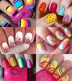 unhas-decoradas-coloridas Super Cute Nails, Pedicure, My Nails, Manicures, Nail Designs, Colorful Nail, Fingernails Painted, Homemade Beauty Tips, Cute Nails