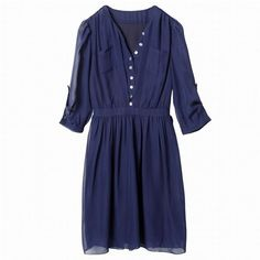 rhinestone buttoned navy dress.