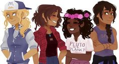 I think this is a perfect representation of what the girls look like, Credit to the artist! From Left to right: Annabeth, Piper, Hazel, & Reyna