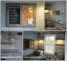 white washed pallet wall, industrial light fixtures  color combo for Tyler's room