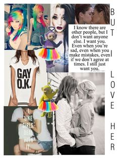 """But I Love HER"" by futurenumbers ❤ liked on Polyvore featuring American Apparel, Love Quotes Scarves, gay, bisexual, Lesbian and brakeup"