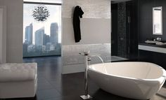 bathrooms-gorgeous-suite-bathroom-with-unique-shaped-modern-white-bathtub-and-faucet-comfy-white-leather-sofa-and-awesome-geometrical-ceramic-wall-tiles-cool-gallery-collection-of-modern-classic-bat.jpg (1152×701)