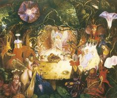 The Fairies Banquet John Anster Fitzgerald 1859 Fairy Myth Poster Art Print Sprites, Illustrations, Illustration Art, Banquet, Fairy Paintings, Vintage Paintings, Autumnal Equinox, Reproduction, High Art