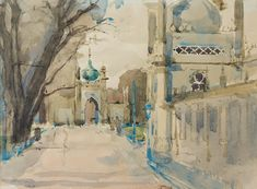 Royal Pavilion with the North Gate - Watercolour, Sergeant, 1969 – The Witch Ball Royal Pavilion, Brighton, Watercolour, Gate, Witch, Artist, Painting, Pen And Wash, Watercolor Painting