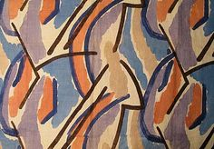 Omega Workshops fabric - Pamela (1913), printed linen. Attributed to Duncan Grant/Vanessa Bell. Picture courtesy Manchester City Art Gallery