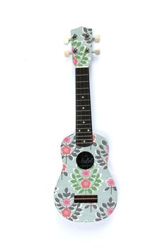 The Mint Flower Ukulele by @TheUkuleleWorkshop on Etsy, £65.00 #handmade #musical #instrument #flowers #pattern #ukulele