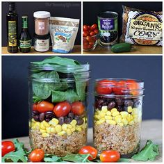 Fiesta Quinoa Salad-In-A-Jar Love the idea of preparing these ahead of time for a quick lunch. This is just one variation. Great healthy choice loaded with protein and nutrients! Mason Jar Meals, Meals In A Jar, Mason Jars, Fiesta Salad, Clean Eating, Healthy Eating, Healthy Lunches, Cooking Oatmeal, Salad In A Jar