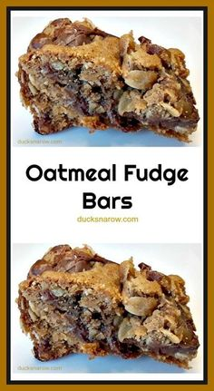 Fudgy Oatmeal Chocolate Bars- January 2019 - Ducks 'n a Row Fudgy chocolate oatmeal bars are so easy to make and a real crowd pleaser. If you have a crowd to feed, make more than one batch! Cookie Desserts, Just Desserts, Cookie Recipes, Delicious Desserts, Quick Dessert Recipes, Oatmeal Fudge Bars, Oatmeal Chocolate Bars, Oatmeal Dessert, Chocolate Cobbler