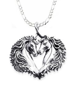 """Horses In Love"" Sterling Silver necklace"