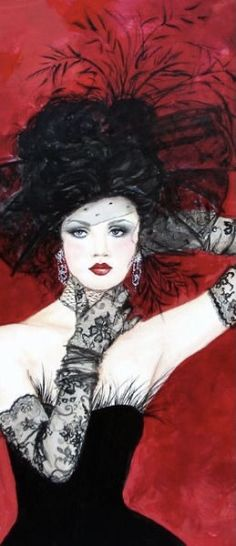 Fashion Illustrations, Fashion Sketches, Black Lace Gloves, Pin Up, Illustration Mode, Animation, Glamour, Black White Red, Female Art