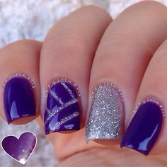 """""""Classy nails of the day, featuring """"Shattered Gemstone"""" by @royalpolish It photographed slightly blueish in the shade, but is a rich gorgeous plum with…"""""""