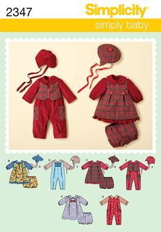 """2347 Babies' Romper & Dresses    Babies' romper, dress, panties and hats sewing pattern…hats in three sizes S(17""""), M(18"""") & L(19"""")."""