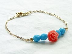 Coral & Turquoise Beads Bracelet Coral Pink by smallbluethings, $18.00