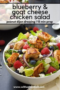 A hearty Chicken Salad with Peanut Dijon Dressing that is filled with fruit, creamy goat cheese, smoked almonds that is a nutritious dinner or lunch! Salads For A Crowd, Salad Recipes For Dinner, Healthy Salad Recipes, Blueberry Goat Cheese, Blueberry Salad, Healthy Meal Prep, Healthy Eating, Recipes With Few Ingredients, Quick Chicken Recipes
