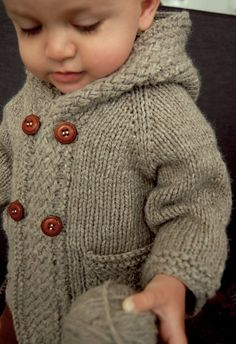 Baby Knitting Patterns Men Ravelry: Latte Baby Coat pattern by Lisa Chemery. Also pattern includes without … Knitting For Kids, Knitting Projects, Crochet Projects, Free Knitting, Knitting Ideas, Cardigan Bebe, Wrap Cardigan, Hooded Sweater, Men Sweater