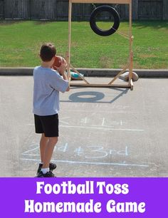 School Carnival Game - Football Toss. Check out this DIY game for your fundraising carnival!