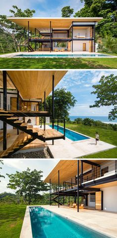 A long swimming pool at the front of this home in Costa Rica, provides a separation from the grassy area.