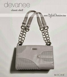 Devanee Classic Shell / Premium Pricing  Sophisticated, yet fun-loving, medium-grey Devanee for Classic Miche bags is a delightful addition to your collection.   Unique abstract design features perforated piercings, laser-cut to perfection, along with solid faux leather detail and matching covered button accent.