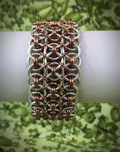 Wide Helm Chainmaille Bracelet  Silver and Bronze  by DaisiesChain
