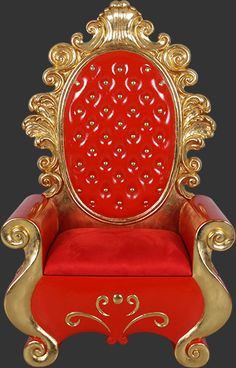 Santa Throne Chair - Christmas Decor - Red and Gold Santa Throne - Santa Chair King Chair, Throne Chair, Commercial Christmas Decorations, Outdoor Christmas Decorations, Christmas Chair, Christmas Home, Gothic Chair, Royal Chair, Miracle On 34th Street