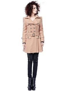 Winter Section Lapel Pleat Double Breasted Wool Coats Camel
