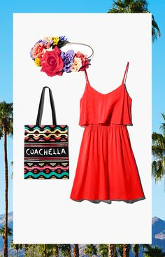 It wouldn't be Coachella without a flower crown and breezy sun dress! Tote your festival essentials in a spirited Coachella bag.│ H&M Loves Coachella