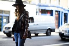 Studded Leather Jacket. London Fashion Week Spring 2015 #streetchic