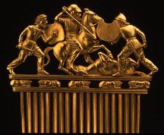 430–390 BCE. Comb with battle scene (detail), Gold. Scythian-Greek style. 5 x 4 in. (12.6 x 10.2 cm). Ukraine, Solokha kurgan. The State Hermitage Museum, Saint Petersburg.