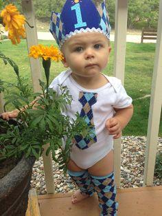 Boys First Birhtday Argyle Outfit - Tie Onesie, Warmers, & Hat - Cake Smash. $38.00, via Etsy.