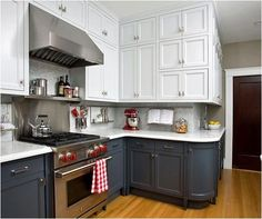 white upper cabinets and grey lower cabinets - Google Search