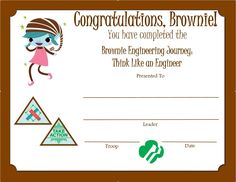 Brownie Girl Scouts, Computer Science, Troops, Certificate, Congratulations, Journey, The Journey, Computer Engineering, Certificate Of Deposit