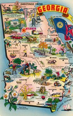 Georgia GA Georgia Map Greetings from Georgia Vintage Postcard Vintage Maps, Vintage Travel Posters, Travel Maps, Travel Usa, Georgia Usa, Rome Georgia, Atlanta Georgia, Tourist Info, Georgia Aquarium