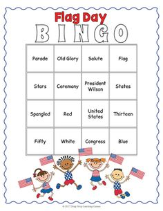 Flag Day Bingo - 24 Flag Day vocabulary calling cards and 30 unique bingo boards. Ready to print and play for June Bingo Games, Activity Games, Card Games, Fun Classroom Activities, Classroom Fun, Bingo Board, Educational Games For Kids, Matching Cards, Calling Cards