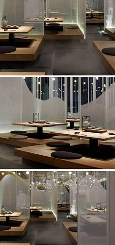 Guests at this restaurant sit on floating platforms among fog covered walkways