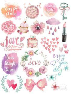 Pastellfarben In Thame Stickers Druckbare Printable Planner Stickers, Journal Stickers, Free Printables, Journal Cards, Tumblr Stickers, Free Stickers, Bullet Stickers, Planner Bullet Journal, Scrapbooking Stickers