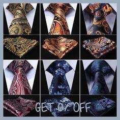 "Pocket Square Classic Party Wedding Floral 3.4"" Silk Wedding Mens Extra Long Tie XL Necktie Handkerchief Set #Q6"