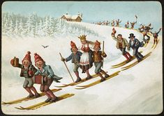 https://flic.kr/p/tQ7LUX | Julekort med bondebryllup og ski | Beskrivelse / Description: overrekkelseskort / kartongkort Dato / Date: ca. 1880-1890 Kunstner / Artist: Wilhelm Larsen (1854-1893) Utgiver / Publisher: N. W. D. & S. Digital kopi av original  / Digital copy of original: kartongkort, farge Eier / Owner Institution: Nasjonalbiblioteket / National Library of Norway Lenke / Link: www.nb.no Bildesignatur / Image Number: blds_07475
