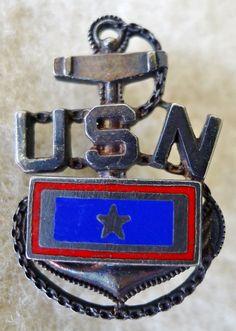 VTG WWII USN Navy Anchor Pin Brooch Enamel Sterling Homefront Sweetheart | eBay